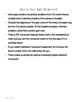 Math In Focus 3rd Grade HOMEWORK FREEBIE!