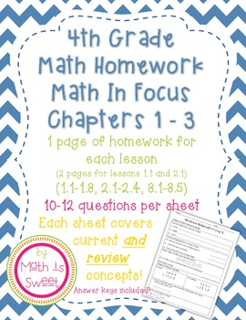 Math In Focus 4th Grade Chapters 1-3 HOMEWORK!