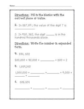Math In Focus - 5th Grade Lesson 1.2 Quiz