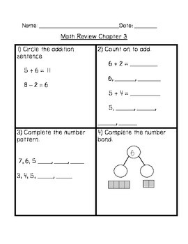 Math In Focus Grade 1 Chapter 3 Review Sheets