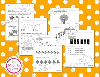 Math In Focus -Grade 1- Chapter 6 (Ordinals & Positions) Review/Study Guide/Test
