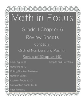 Math In Focus Grade 1 Chapter 6 Review Sheets