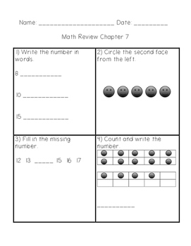 Math In Focus Grade 1 Chapter 7 Numbers to 20 Review Sheets