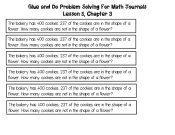 Math In Focus Grade 2, Chapter 3 Vocabulary, Math Journal Problems, and Posters