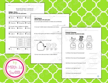 Math In Focus - Grade 3 - Chapter 11 (Metric Length, Mass, Volume) Review/Test