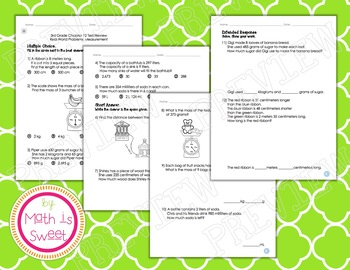 Math In Focus - Grade 3 -Chapter 12 (Measure.Word Probs) Review/Study Guide/Test