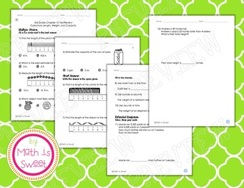 Math In Focus - Grade 3 - Chapter 15 (Custom. Measure.) Review/Study Guide/Test
