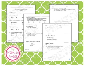 Math In Focus - Grade 3 - Chapter 8 (Division) Review/Test