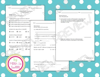 Math In Focus - Grade 5 - Chapter 1 (Whole Numbers) Review/Study Guide/Test