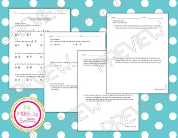 Math In Focus - Grade 5 - Chapter 3 (Fractions) Review/Study Guide/Test