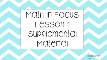 Math In Focus Chapter 1 Lesson 1 Supplemental Activities