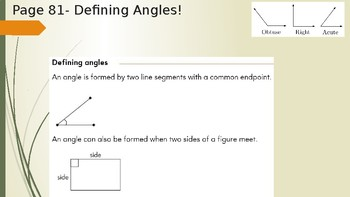 Math In Focus Lesson 9.0 and 9.1 Angles and Protractors- 4th Grade