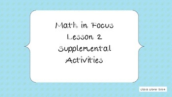 Math In Focus Supplemental Unit Chapter 1 Lesson 2