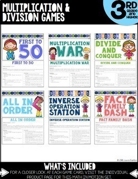 Math In Motion - Hands-On Math Games - Second and Third Grade MEGA Bundle