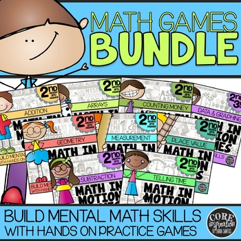 Math In Motion - Second Grade Hands-On Math Games - Year Long Bundle