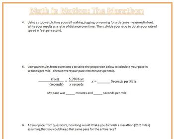 Math In Motion: The Marathon (U.S. Standard Measures and Time Conversions)