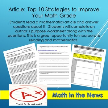 Math In the News: Top 10 Strategies to Improve Your Math Grades--Sub Plans