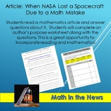 Math In the News: When NASA Lost a Spacecraft Due to a Math Mistake--Sub Plans