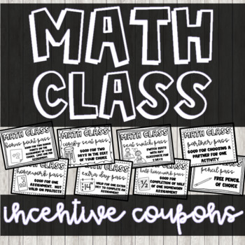 Math Incentive Coupons for Middle School
