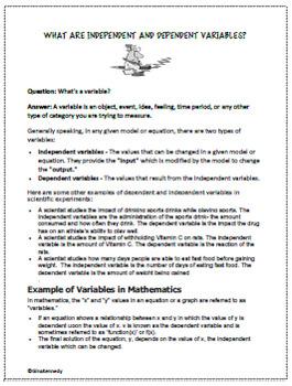 6th Grade Algebra Independent & Dependent Variables