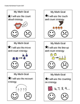 Math Individual Goal Setting Sticky Notes for Kindergarten