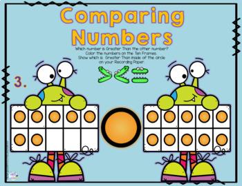 Math Inequalities: Comparing Monster Ten Frames