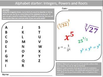 Math Integers Powers Roots Wordsearch Crossword Anagram Alphabet Keywords