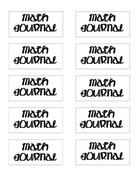 Math Interactive Journal Labels
