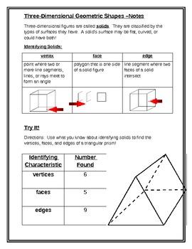 Math Interactive Notebook: 3D Geometric Shapes