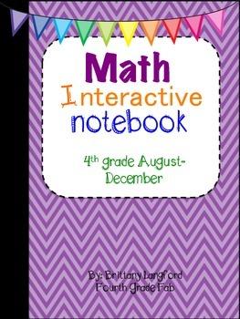 Math Interactive Notebook 4th grade edition August-December