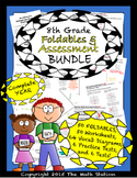 Math Interactive Notebook - 8th Grade Complete Year Assessment & FOLDABLE BUNDLE