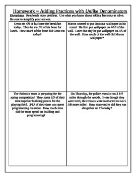 Math Interactive Notebook: Adding fractions with unlike denominators