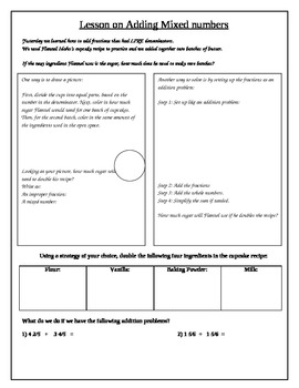 Math Interactive Notebook: Adding mixed numbers