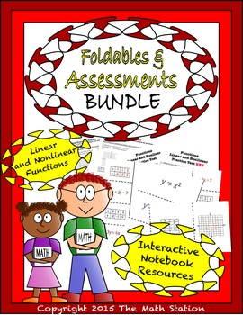 Math Interactive Notebook - Assessments & FOLDABLES Functions - 8th Grade
