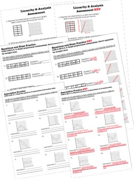 Math Interactive Notebook - Assessments & FOLDABLES Linearity & Analysis- 8th Gr