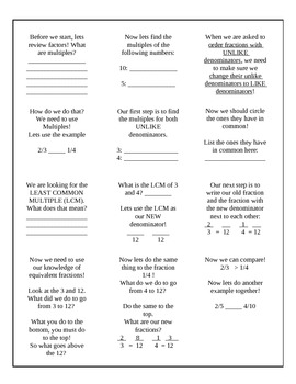 Math Interactive Notebook: Comparing fractions with unlike denominators