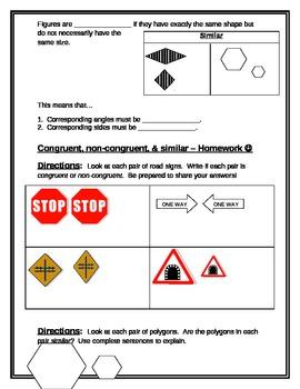 Math Interactive Notebook: Congruent, Non-Congruent, and Similar