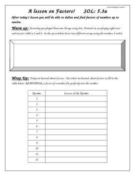 Math Interactive Notebook: Factors