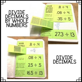 Math Interactive Notebook: Grades 5 & 6 Decimal Operations Flippables