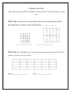 Math Interactive Notebook: Perimeter and Area