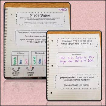 Math Interactive Notebook Place Value Common Core Aligned 4.NBT.1