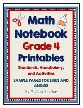 Math Interactive Notebook Printables Grade 4- FREEBIE for Lines and Angles