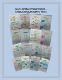 Math Interactive Notebook - Rates, Ratios, Percents, and Taxes