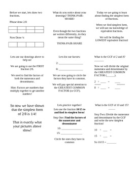 Math Interactive Notebook: Simplifying Fractions