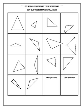 Math Interactive Notebook: Sorting Triangles