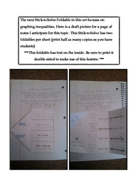 Math Interactive Notebook - Stick-N-Solve FOLDABLES Algebra - 7th Grade