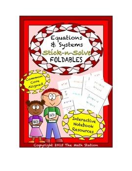 Math Interactive Notebook - Stick-N-Solve FOLDABLES Equati