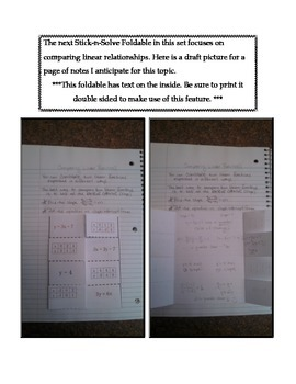 Math Interactive Notebook - Stick-N-Solve FOLDABLES Functions - 8th Grade