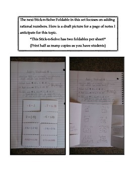 Math Interactive Notebook - Stick-N-Solve FOLDABLES Rational Numbers-7th Grade