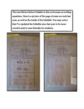 Math Interactive Notebook - Stick-n-Solve FOLDABLES Algebra - 6th Grade